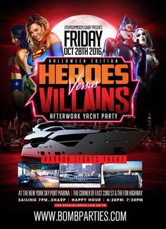Summer Splash Off Presents Halloween Edition Heroes Vs. Villains @ Harbor Lights Yacht Thursday October 28, 2016 « Bomb Parties – Club Events and Parties – NYC Nightlife Promotions