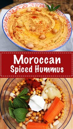 Moroccan Spiced Hummus - Packed full of aromatic and vibrant flavours that never. - Moroccan Spiced Hummus – Packed full of aromatic and vibrant flavours that never gets boring! Chickpea Recipes, Vegetarian Recipes, Cooking Recipes, Healthy Recipes, Vegetable Recipes, Morrocan Food, Homemade Hummus, Mediterranean Recipes, Sauces