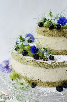 Matcha gooseberry mousse cake with black raspberries