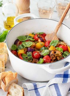 This ratatouille recipe is the ultimate late summer dish! Summer veggies like eggplant, tomatoes, zucchini, and peppers melt into a tangy, silky stew. Serve it with fresh basil and lots of crusty bread! Yummy Vegetable Recipes, Fresh Tomato Recipes, Healthy Recipes, Healthy Food, Traditional Ratatouille Recipe, How To Make Ratatouille, Vegetarian Recipes Dinner, Vegetarian Options, Recipes