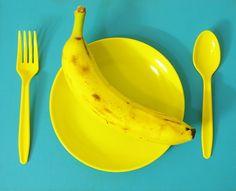 yellow turquoise fruit banana vegan spoon pop art Warhol artists on tumblr fork raw food Fruitarian original photographers on tumblr Randolph A. Barry