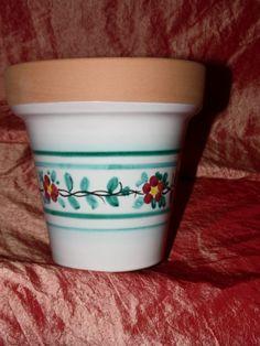 Vaso per piante svasato con fascia con fiorellino rosso vietri e verde rame