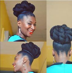 15 Creative and Gorgeous Natural Hair Updo Style Ideas The possibilities are beautiful and this natural hair updo style gallery proves it! See 15 ideas for your next special event, celebration, and more! Natural Hair Bun Styles, Natural Hair Updo, Curly Hair Styles, Braids With Curls, Long Box Braids, Pin Curls, Curly Hair Designs, Curly Hair Updo, 4c Hair
