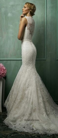 Lace Mermaid Bridal Gown by AmeliaSposa
