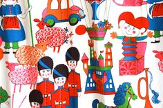 Large Vintage 1960s Kitschy Toy Soldier Fabric by TrueValueVintage, $65.00