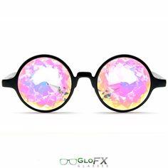 GloFX Black Kaleidoscope Glasses- Rainbow