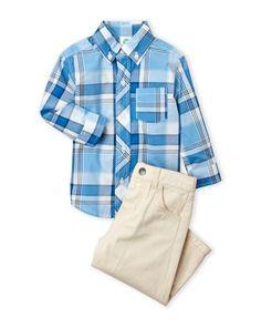 Little Me (Infant Boys) Two-Piece Plaid Button-Down Shirt & Pants Set
