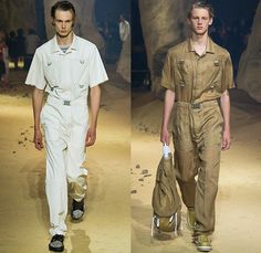 KENZO 2016 Spring Summer Mens Runway Catwalk Looks - Mode à Paris Fashion Week Mode Masculine France - Patchwork Denim Jeans Cargo Pockets Elastic Hem Slouchy Loose Baggy Wide Leg Ombre Drawstring Outerwear Coat Knit Sweater Jumper Blazer Jacket Parachute Cord D-Ring Onesie Jumpsuit Flight Boiler Suit Salopette Coveralls Bag Knapsack Pointed Spikes Crinkles Backpack Shorts