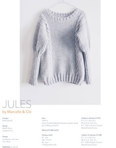 SWEATER JULES Adult Size M Pattern in french and english - PDF All following products are digital PDF Knitting Patterns that you receive in your email address after purchase. You are not buying any physical object, only the instructions on how to knit the garment or accessory by yourself. The pattern is available as a digital PDF. SIZING Width 43 cm Length 55 cm YARN 1200m (here 12 balls (50g) Cleckheaton perfect day 8 ply, 100% pure wool) NEEDLES Needles 6 / US 10 Circular needles 6mm...