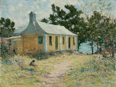 """""""Bermuda House with Child,"""" Clark Greenwood Voorhees, oil on canvas, 18 x 24"""", collection of a descendant of the artist, exhibited at Hawthorne Fine Art."""