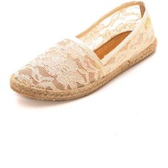 Kaanas Lace Espadrille - Seashell ($95) ❤ liked on Polyvore featuring shoes, sandals, sapatos, flats, espadrille sandals, flat pumps, woven shoes, flat shoes and woven flat shoes