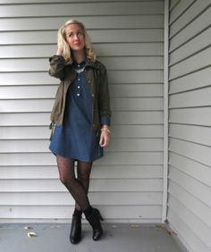 chambray dress, army jacket, polka dot tights, socks with ankle boots, how to wear ankle boots How To Wear Ankle Boots, Tights And Boots, Polka Dot Tights, Olive Jacket, Green Coat, Chambray Dress, Girls Wear, Outfit Posts, New Outfits
