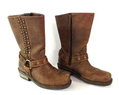 Harley Davidson Womens Motorcycle Boots Brown Leather Auburn Harness Stud D85432 #HarleyDavidson #Motorcycle