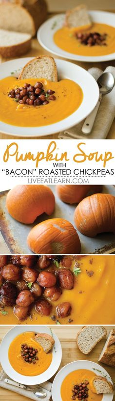 "Roasted red bell pepper and pumpkin soup with roasted ""bacon""-tasting chickpeas // Live Eat Learn"