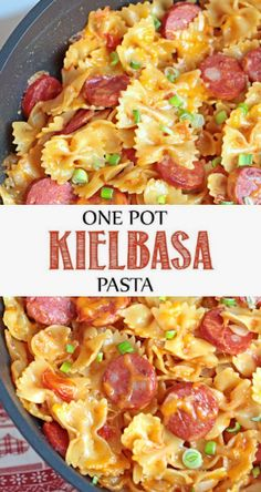 >> One Pot Kielbasa Pasta This recipe made dinner time a snap, it really is a throw together kind of meal because it all co. Turkey Kielbasa Recipes, Kilbasa Sausage Recipes, Polish Sausage Recipes, Smoked Sausage Recipes, Sausage Pasta Recipes, Sausage Meals, Polish Keilbasa Recipes, Smoked Sausages, Hamburger Recipes