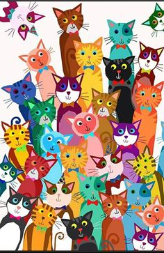 Colorful cats! Lots of love! ♥