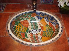 mexican tile bathroom | ColorTherapy: Why Don't You…? | Apartment Therapy
