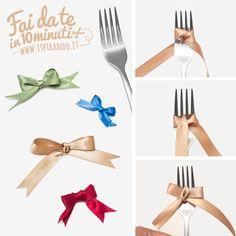 Come creare un fiocco perfetto utilizzando una forchetta! Da fare in soli 10 minuti! #DIY #ribbon #fork