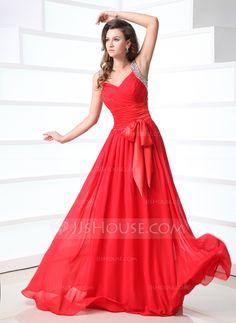 Prom Dresses - $142.79 - A-Line/Princess V-neck Floor-Length Chiffon Charmeuse Prom Dress With Ruffle Beading (018043931) http://jjshouse.com/A-Line-Princess-V-Neck-Floor-Length-Chiffon-Charmeuse-Prom-Dress-With-Ruffle-Beading-018043931-g43931?ver=xdegc7h0