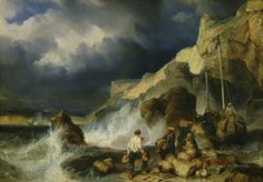 """The Onslaught of the Smugglers"" - Great painting of smugglers landing on the coast."