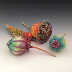 Pods, Plants & a leaf. Polymer & oil paint.