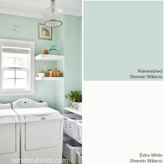 Choosing a Coastal Color Palette - Rainwashed - Sherwin Williams + more coastal paint color combinations BATHROOM COLORS