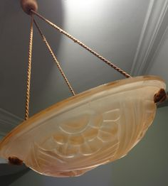 "Art Deco Lamp from France Signed ""Degue"" - (1920s) Palest Pink Hanging Ceiling Light - 3 TREASURY LISTS. $187.00, via Etsy."