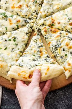 Get your appetizer and dinner all in one when you make this Spinach and Artichoke Dip Pizza! A lightened up version of classic spinach and artichoke dip acts as the sauce for this creamy and cheesy topped pie! Chicken And Cheese Recipes, Pizza Recipes, Vegetarian Recipes, Dinner Recipes, Cooking Recipes, Easy Recipes, Good Food, Yummy Food, Healthy Food