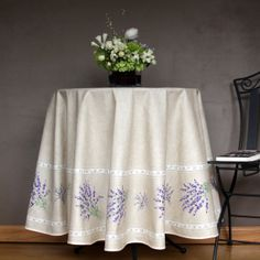 70 inch Round Coated Tablecloth  Ready to ship by SoleildeProvence, $82.00