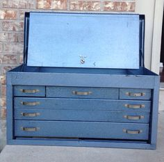Vintage Industrial Weather Front Slate Blue Metallic Huot 6 Drawer Tool Box / Cabinet / Chest - Large / Heavy on Etsy, $99.95