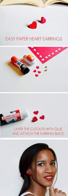 Create cute heart-shaped earrings completely out of paper! See how at Spark & Chemistry blog