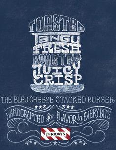 TGI Fridays Burger Illustrations by Scott Biersack, via Behance #typography #Fonts #type