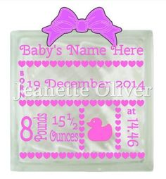 Personalised baby design for cards frames light blocks on Craftsuprint designed by Jeanette Oliver - Personalised baby design STUDIO cutting file. Baby's name, date, weight and time can be personalisedSuitable design for use on cards, in frames or on glass light blocksGlass Block and Bow are for illustration purposes only and not included in this downloadSmall commercial use allowed. Please see my TOU - Now available for download!