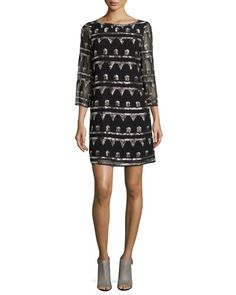 TAGLJ Alice + Olivia Riska Shimmery Embroidered Chiffon Dress