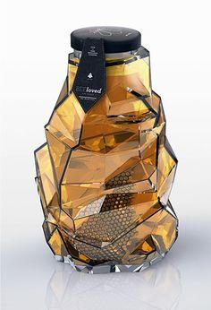 Cool geometric design for this honey jar! #packagingdesign