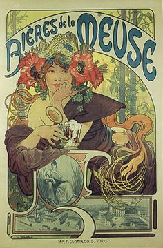 Alphonse Mucha. Didn't every young girl have this poster in her first apartment? i did. my big sister gave it to me