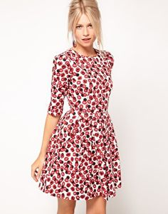 ASOS Skater Dress With Kiss Print