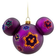 Disney Mickey Mouse Icon Ornament, Purple - Colorful Mickey Item No. 7509002529669P, $18.95, 4 1/2'' H x 6'' W (at ears) x 3 1/2'' D