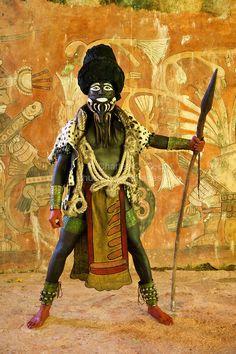 Mayan Dancer Representing Ek Chuah, God of Cacao. Xcaret, Riviera Maya, Yucatan, Mexico.