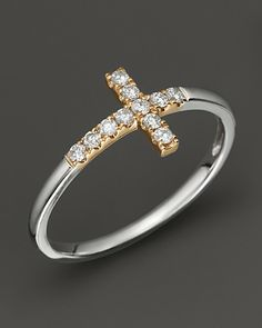 Diamond and 14K White and Yellow Gold Cross Ring, .15 ct. t.w. | Bloomingdale's