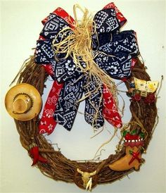 western/cowboy christmas wreath | cowboy wreath materials needed 18 grapevine wreath combined red blue ...