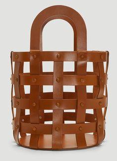 Building Block Woven Basket Bag In Brown Cosmetic Items, Brown Aesthetic, Basket Bag, Luxury Bags, Bag Sale, Basket Weaving, Contemporary Design, Hand Bags, Building