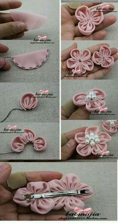 Best 12 Cloth flower making is fun and easy. These cloth flowers look so pretty and are great for adding to brooches, hair clips and necklaces. Use up your favorite scr – SkillOfKing.Ribbon Sakura or plum blossomsThis Pin was discovered by Flo - Sa Diy Hair Bows, Diy Bow, Diy Ribbon, Ribbon Work, Ribbon Crafts, Flower Crafts, Fabric Crafts, Sewing Crafts, Ribbon Flower