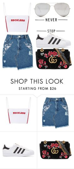 """Untitled #238"" by jasminetzuberi on Polyvore featuring Miss Selfridge, adidas Originals, Gucci and Sunny Rebel"