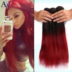 (101.05$)  Buy here  - 1B Burgundy/99J Brazilian Straight Human Hair Weave Bundles 7A 3Pcs Ombre Burgundy Brazilian Body Wave Cheap Hair Extensions
