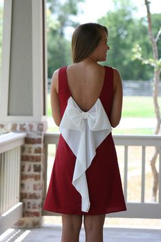 Crimson and White Bow Back Gameday Dress. Adorable aggie dress :)