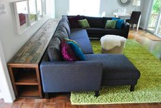 Inspiration for couch console table via younghouselove.com