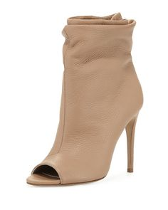 Burberry Burlison Scrunched Leather Bootie, Camel