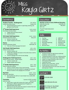 this chalkboard themed resume is perfect for a teacher - Preschool Teacher Resume Template