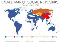 Worls map of Social Networks